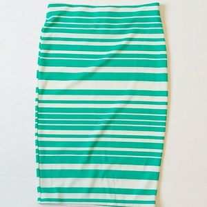 Green ivory pencil skirt pinup striped